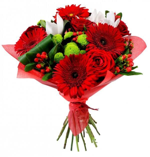 Ramo De Gerberas Rosas Rojas Para San Valentín